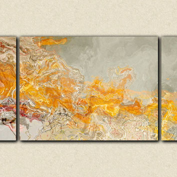 "Abstract expressionism large triptych canvas print with gallery wrap, 30x60 in orange and cream, from abstract painting ""La Patate Chaud"""