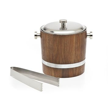Ice Bucket/tong Wood Inlay