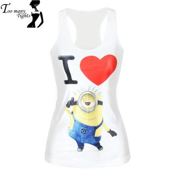 V154 Despicable Me Minions I Love You Print Women t-shirt sign Fashion White Camis Vest Cloth tanks
