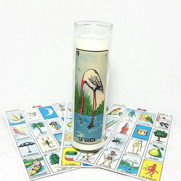 La Garza Loteria Religious Soy Wax Candle/Mexican Candles/Floral Bouquet Scented/Mexico Bingo/Pray Prayer Vigil Candle