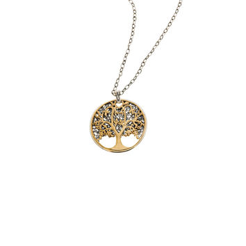 Tree Of Life Sterling Silver Reversible Bronze Medallion Necklace
