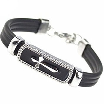 Basket Hill, Silver Tone Cross Bracelet on Black Leather