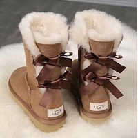 UGG girl Large bow tie Keep warm Snow boots-8