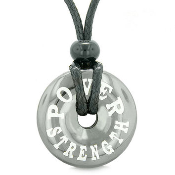 Inspirational Power and Strength Amulet Lucky Charm Magic Coin Donut Hematite Pendant Necklace