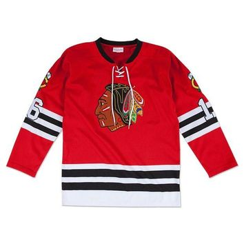 DCCKFC9 Mitchell & Ness Bobby Hull 1960-1961 Authentic Jersey Chicago Blackhawks In Scarlet