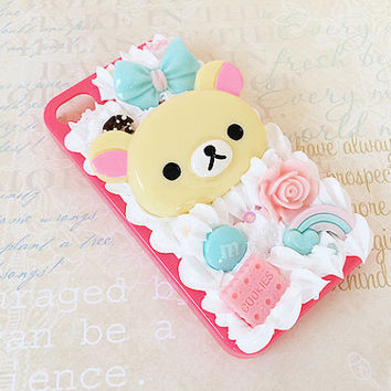 Clear iPhone 4/4S Case - Decoden Hard Phone Case - Korilakkuma - Kawaii Case - Fairy Kei Mint Bow Hime Gyaru - Pastel - Whipped Cream