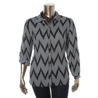 NY Collection Womens Plus Chiffon Pattern Button-Down Top