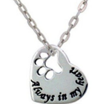 """Chillin' Chihuahua """"All My Children Have Paws"""" Dog Heart Necklace Silver"""