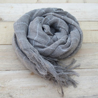 Linen scarf with fringe, Linen scarf, Organic linen scarf, Long scarf, Unisex, Women scarf, Men scarf, Scarves, Shawl