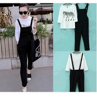 Korean fashion pregnant overalls Maternity Pants + pregnant women T-shirt suit = 1946633540