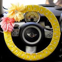 Car Steering wheel cover-Polka Dots with Chiffon Flower Yellow, Automobile Accessories, Car Decor, Automobile Wheel cover, Valentine Gift