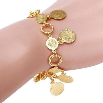 Coin Bracelet For Women Islam Muslim Arab Coin Money Middle Eastern African Jewelry Bangle Metal Coin Bracelet