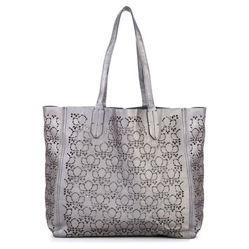 Leather Laser Cut Tote, Silver, Totes