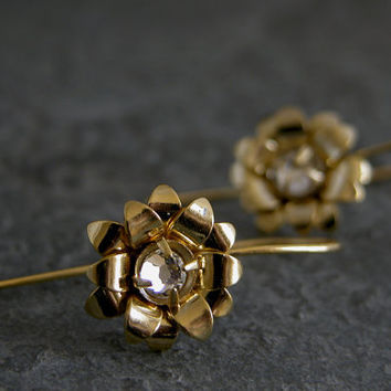 Gold Blossom Earrings,  Flower Gold Earrings,Rose Gold Earrings,Crystal Earrings, Wedding Jewelry,wedding Earrings