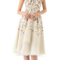 Lela Rose Embroidered Strapless Dress | SHOPBOP