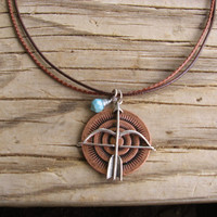 Tribal Necklace - Bow and  Arrow Pendant - Wire Wrapped Faux Turquoise Charm - Length Adjustable to 19""
