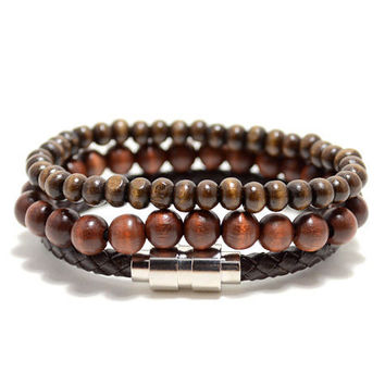 3 Pack 8mm/6mm/leather Drk Brown