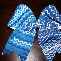 Blue and White Chevron Cheer Bow by isparklethat on Etsy