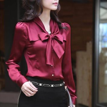 2017 Fashion female elegant bow tie  blouses Chiffon peter pan collar casual shirt Ladies tops school blouse Women Plus Size