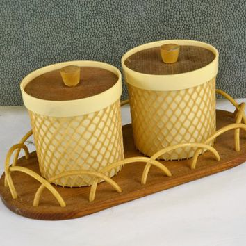 Jam Jelly Condiment Containers Netted Hard Plastic Wood Lids Wood Tray w/ Rattan Edge Vintage Mid Century Dansk Modern