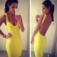 """Jenna"" V Neck Bandage Dress - Love Struck"