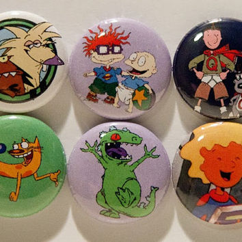 "Set of 6 90's Nickelodeon 1"" Pinback Buttons (Set #2)"