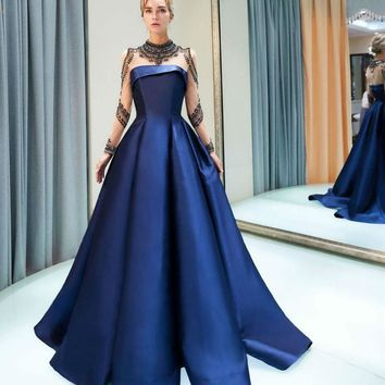 Navy Blue Evening Dresses Long Sleeves High Neck Crystal Illusion Neck Satin Prom Gown
