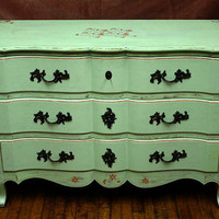 Serpentine Front Spring Green Distressed Hand Painted Stenciled Bedroom Dresser