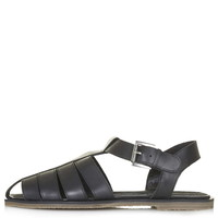TECHNO Leather Cut-Out Sandals - Sale & Offers