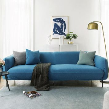 Sofa Covers Jacquard Spandex Fabric Stretch Slipcover in Blue