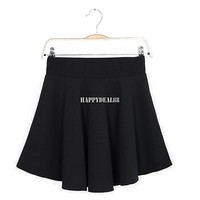 New Women Candy Color Stretch Waist Plain Skater Flared Pleated Mini Skirt Hot