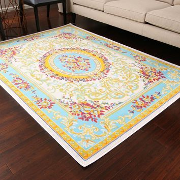 0842 White Blue Colorful Aubusson Traditional Area Rugs