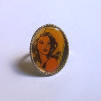 Comic Ring / Comic Book Rings / Adjustable Metal Ring / Oval Ring / Vintage Inspired / OOAK / Exentricity