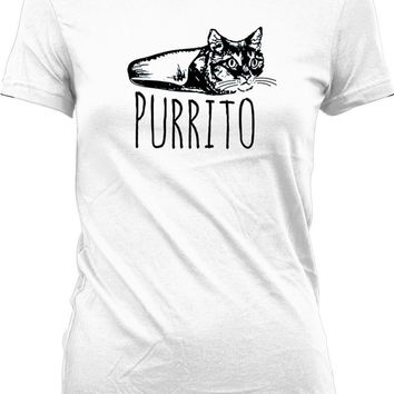 Funny Cat Shirt Purrito Funny Animal Shirt Kitty T Shirt Cat Gifts Kitten Clothing Mexican Food Burrito Shirt Animal Lover Ladies Tee WT-316