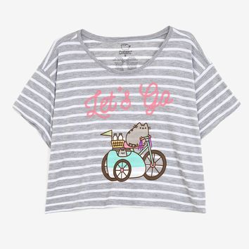 Pusheen Let's Go striped ladies relaxed crop tee