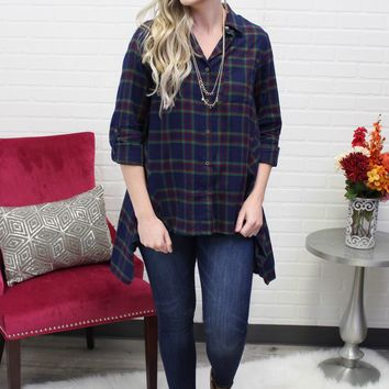 Skyler Blue and Green Plaid Tunic Top