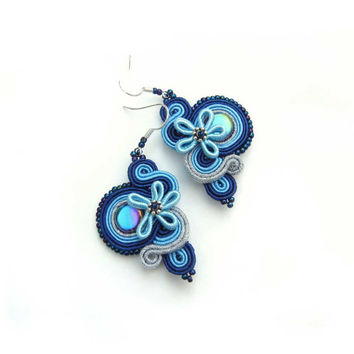 CHRISTMAS SALE 30%,  Soutache Earrings, Blue Marine, Blue Silver, Blue Earrings, Statement Jewelry, Dangling Earrings, Small Earrings