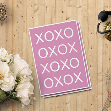 "Valentine's Day Cards for her, XOXO Card, Love Card, Digital Printable Card, 5""x7"" Instant Download - Heart Digital Print - on SALE 50%"