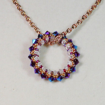 Bead Weaving Pendant Necklace Circle of Life by joellenflaherty