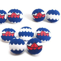 Nautical Button Earrings, Boat Earrings, Sailor Earrings, Wave Earrings, Fabric Studs