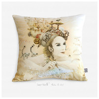 Artistic animal princess pillow cover - Inner World - Satin glossy luxurious throw pillow - Modern pillow case - artistic cushion cover.