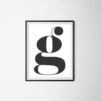 Letter g, 8x10 digital download, monogram, initial, black and white print, printable, poster, home decor, wall art, modern print, alphabet