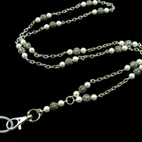 ID Badge Lanyard with Pearls and Filigree Beads