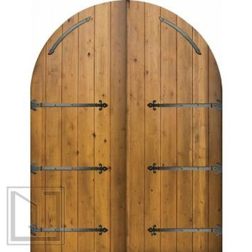Slab External Double Door 96 Wood Alder Rustic Plank Round Top Solid