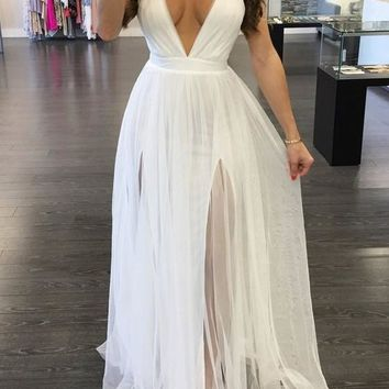 White Patchwork Spaghetti Strap Backless Plunging Neckline Sleeveless Maxi Dress
