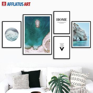 Blue Ocean Sea Beach Mountain Landscape Wall Art Canvas Painting Nordic Posters And Prints Wall Pictures For Living Room Decor