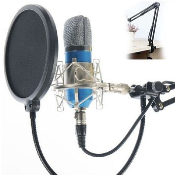 Professional Studio Condenser Microphone Sound Recording Audio Processing Wired Dynamic Vocal Mic with Adjustable Arm Stand for