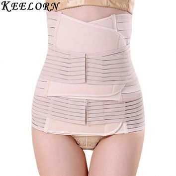 Keelorn 3Pcs Set Maternity Postnatal Belt 2017 New After Pregnancy bandage Belly Band waist corset Pregnant Women Slim Shapers