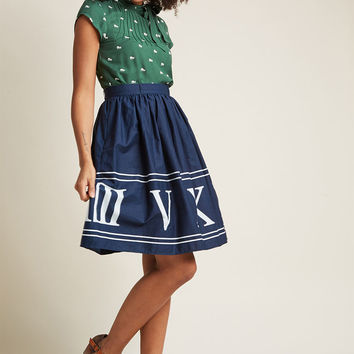 Charming Cotton Skirt with Pockets in Navy Numerals