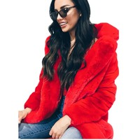 7 Colors Women Winter Thicken Warm Faux Fur Coats Outwear Ladies Casual Solid Full Sleeve Long Section Fake Fur Jacket Coat